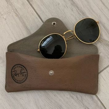 RAY-BAN B&L VINTAGE GOLD COLOURED METAL SUNGLASSES RETRO WITH CASE