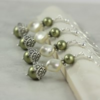 Cream Pearl Wedding Earrings Moss Green by AbacusBeadCreations