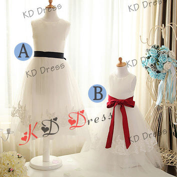 20% OFF Cute Ivory Tulle Skirt Satin Flower Girl Dress Children Birthday Party Dress Kids Dress with Detachable Sash(Z1027)