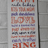 Handmade Hand Painted Love Kiss Mom Dream Wish Wood Sign