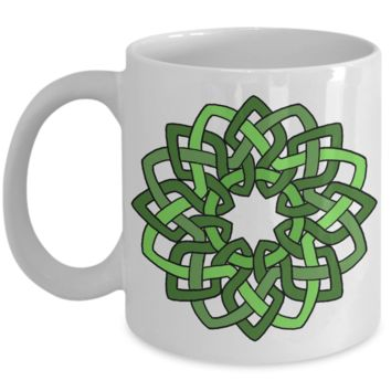 Celtic Green Wreath ~ Irish Gaelic Scottish ~ White Coffee Mug
