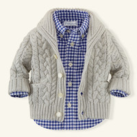 Cable Cotton-Cashmere Cardigan