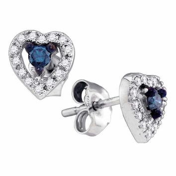 10k White Gold Blue Enhanced Diamond Heart Stud Earrings - FREE Shipping (US/CA)