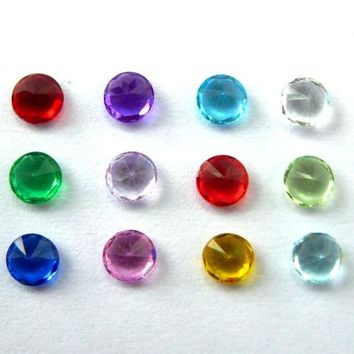 10pcs mix color 5mm round shape birthstone charms floating charm for memory living locket as Mom Dad sister brother grandma gift