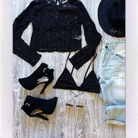 Love You Lace Top- Black