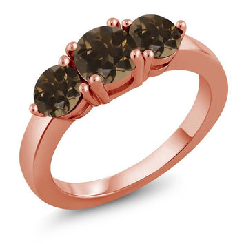 1.72 Ct Round Brown Smoky Quartz 18K Rose Gold Plated Silver Ring