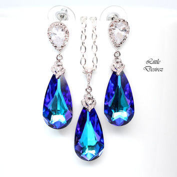 Purple Earrings Necklace Set Bridal Jewelry Set Bridesmaid Gift Swarovski Heliotrope Cubic Zirconia Sterling Silver Purple and Blue HE33JS