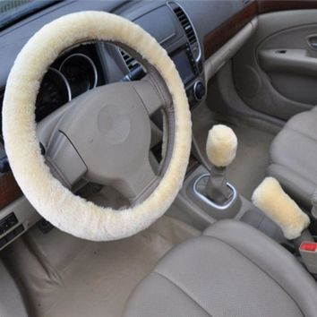 beige 3pcs artificial wool plush car cover steering wheel cover plush set handbrake cover car imitation fur steering wheel set gift winter autumn warm  number 1