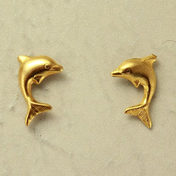 14 Karat Gold Plated Tiny Dolphin Magnetic Clip Non Pierced Earrings