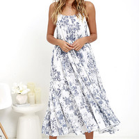 Humming Melodies Blue Floral Print Midi Dress
