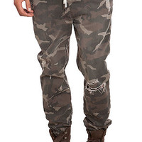 The Distressed Camo Jogger Pants in Camo