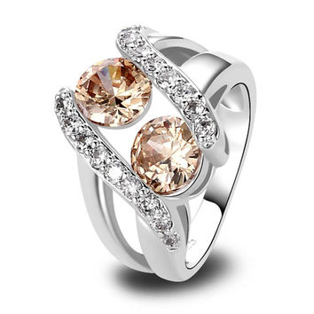 NEW FINE ROUND MYSTERIOUS LIGHT CREATED TOPAZ SILVER PLATED RING SIZE 6 7 8 9 10 FASHION POPULAR UNISEX ADORABLE JEWELRY GIFT