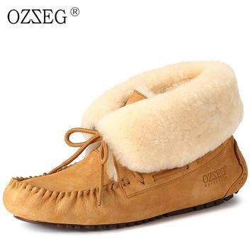 Female genuine leather winter suede lined real wool fur australia snow boot furry bootie Moccasins flat shoe for women ug Eskimo