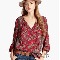 Lucky Brand Floral Paisley Top Womens - Red Multi