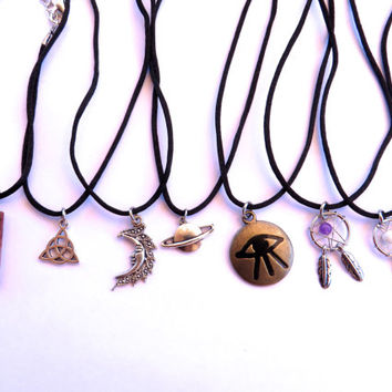 Celestial Choker Cord Charm Necklace Black Adjustable Chain Raw Crystal Point Celtic Knot Moon Saturn Planet Dream Catcher All Seeing Eye