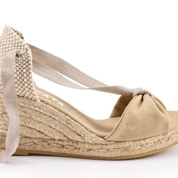 Tossa Canvas Wedges - Beige