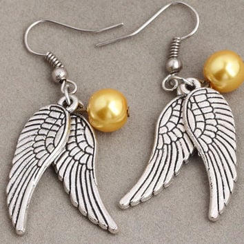 Earrings wings, Harry Potter Inspired Earrings, Movie jewelry, Angel wings, Best gift.