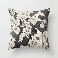 black and white lace- Photograph of vintage lace Throw Pillow by Sylvia Cook Photography
