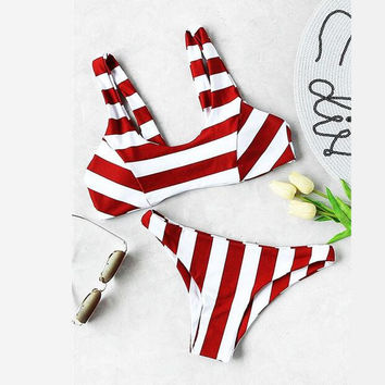 Sexy hot red white stripe two piece bikini vest type swimsuit