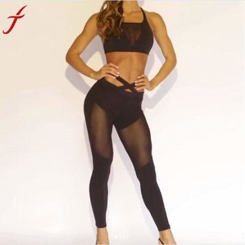 Workout Pants Women Hight Waist Fitness Leggings Stretch Sporting Pants Trouser Mesh Insert Leggings