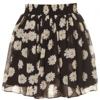 Black Daisy Print Chiffon Skirt -  from Lavish Alice UK