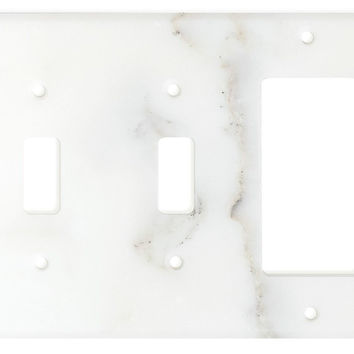 Italian Calacatta Gold Marble Double Toggle Rocker Switch Wall Plate / Switch Plate / Cover - Polished
