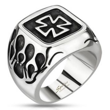 Celtic Cross Plate with Flames Wide Cast Ring Stainless Steel