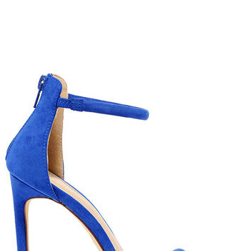 Do the Tango Blue Suede Ankle Strap Heels
