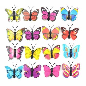 12Pcs DIY Lifelike 3D Multicolor PVC Butterfly Fridge Wall Stickers Kids Baby Rooms Kitchen Home Decoration