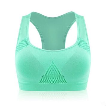 2017 Professional Women Breathable Sports Bra Top Athletic Running Fitness Yoga Bras Padded Vest Solid Color M L XL optional