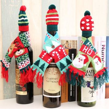 DCCKXT7 Christmas Supplies Cartoon Knit Hat Scarf Set Two-Piece Wine Bottle Decoration
