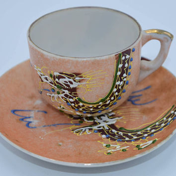 Occupied Japan Moriage Dragonware Miniature Tea Cup & Saucer Vintage Dragonware Porcelain Demitasse Asian Style Cup and Matching Saucer