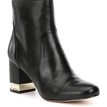KARL LAGERFELD PARIS Sadie Pearl Heel Detail Booties | Dillards