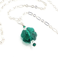 Four Leaf Clover Necklace, 4 Leaf, Green Clover, Lucky Charm, Green Crystal Necklace, St Patricks Day, Emerald Green, Emerald Necklace