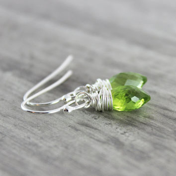Green Peridot Earrings, Peridot Gemstone Earrings, Sterling Silver Earrings, August Birthstone Earrings, Light Green Earrings, Wire Wrapped