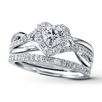 Diamond Bridal Set 7/8 ct tw Heart-shaped 14K White Gold