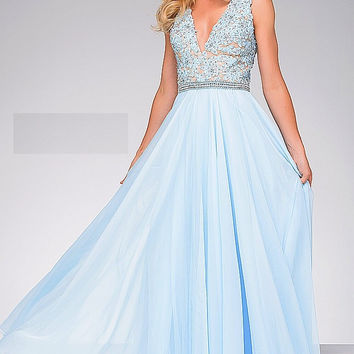 Light Blue V Neck Lace Bodice Prom Dress 47948