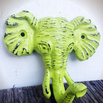 CHARTREUSE LIME GREEN SHABBY DISTRESSED CAST IRON ELEPHANT HEAD WALL HOOK - JUNGLE SAFARI ANIMAL - *FREE SHIPPING*