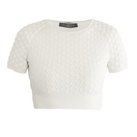 Honeycomb knit cropped sweater | Alexander McQueen | MATCHESFA...