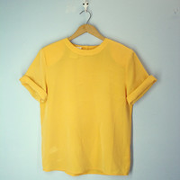 Gold Silky Tee / Vintage 80s Blouse / Slouchy Gold Top
