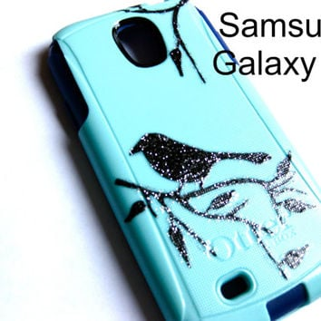 Galaxy S6 Otterbox Case, Otterbox Samsung Galaxy S6 Case Custom Glitter bird on branch case, Sparkly S6 Case