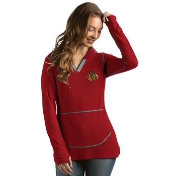 Women's Chicago Blackhawks Move Pullover Hooded Fleece, Red-Antigua