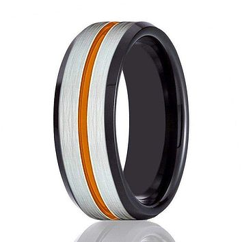Men's Black Tungsten Carbide Ring with Brushed Silver Center and Orange Groove 8mm