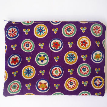 Silk makeup bag, silk cosmetic pouch, purple makeup bag, large zipper pouch geometric pattern from vintage silk kimono Japanese fabric