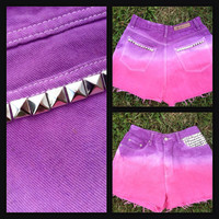 Purple and Pink Dip Dyed Cut Off Denim Shorts with by SokayDesigns