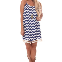 Navy Chevron Tank Dress with Fringe Trim