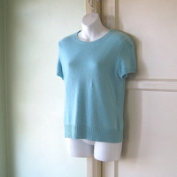 Pretty Aqua Blue Cashmere Sweater - Sweater-Set Type Turquoise Blue Bombshell Pullover; Medium-Large - Form Fitting Shell with Sleeves