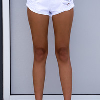Nina White Denim Shorts