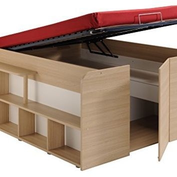 Parisot Space Up Bed and Storage, Full, Oak