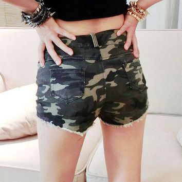 CREYCT9 Sexy Club High Rise Shorts Camouflage Slim Pants Summer Jeans [8824870855]